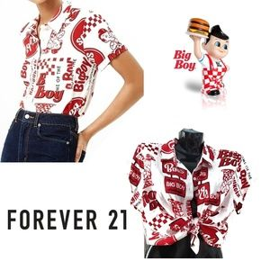 FOREVER 21 Red Bob's Big Boy Button Up Shirt Top
